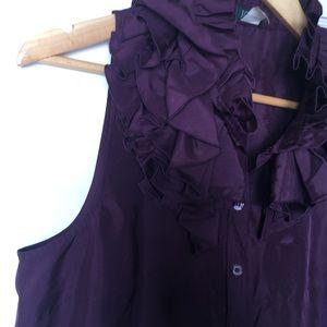 J. Tee silk blouse with ruffles collar